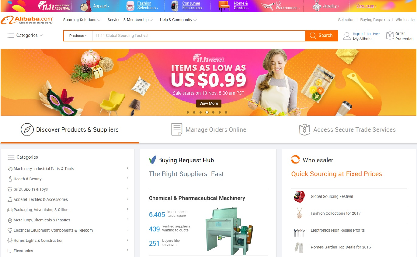 Screenshot Alibaba.com