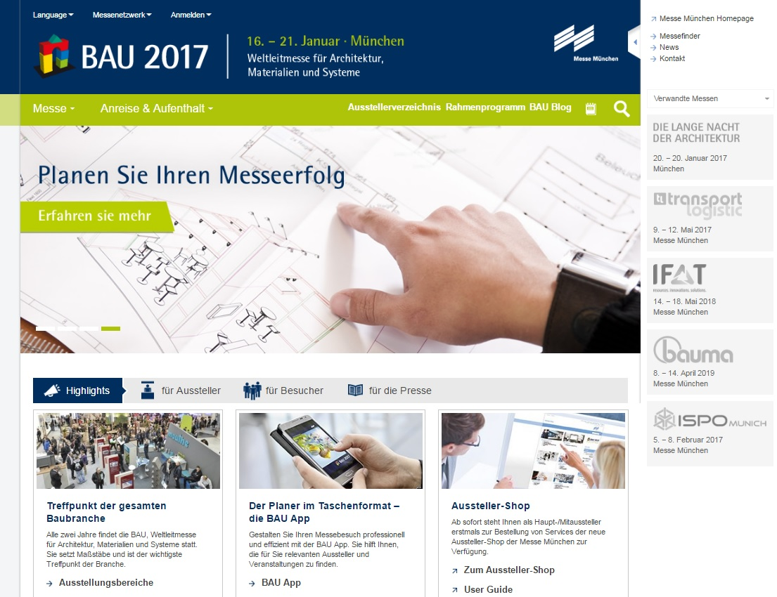 Screenshot der Website BAU 2017 Baumesse München