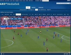 Screenshot ARD Mediathek EM Livestream